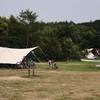 Kamperen aan het grote veld.