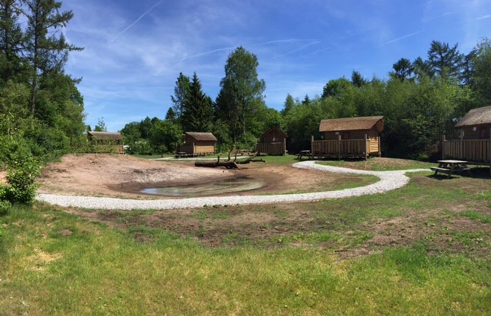 De Boshutten van De Roggeberg, rondom de waterpoel.