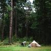 Op fietsvakantie je tent aan de rand van een bos zetten.