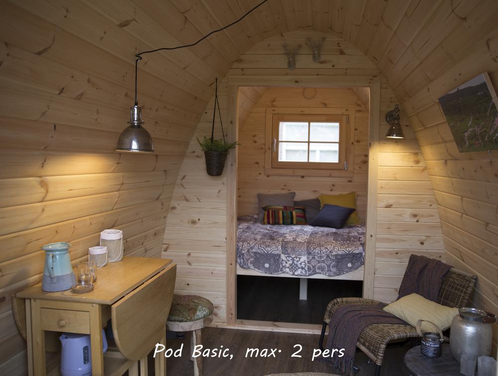 Inrichting van de Camping Pod Basic.