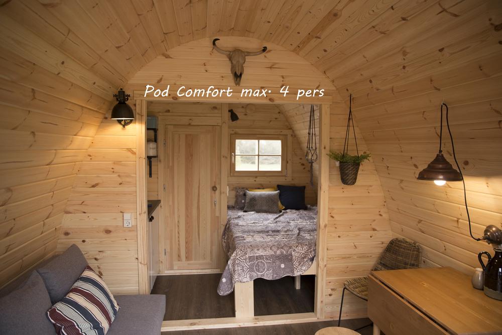 Inrichting van de Camping Pod Comfort.
