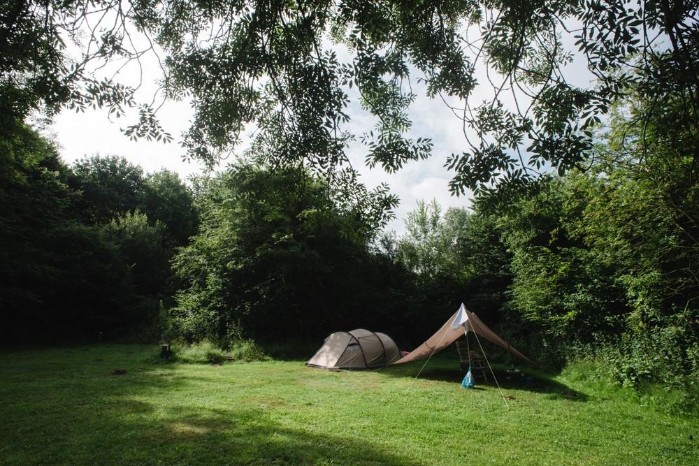 Tent met tarp in een groen hoekje op het veld.