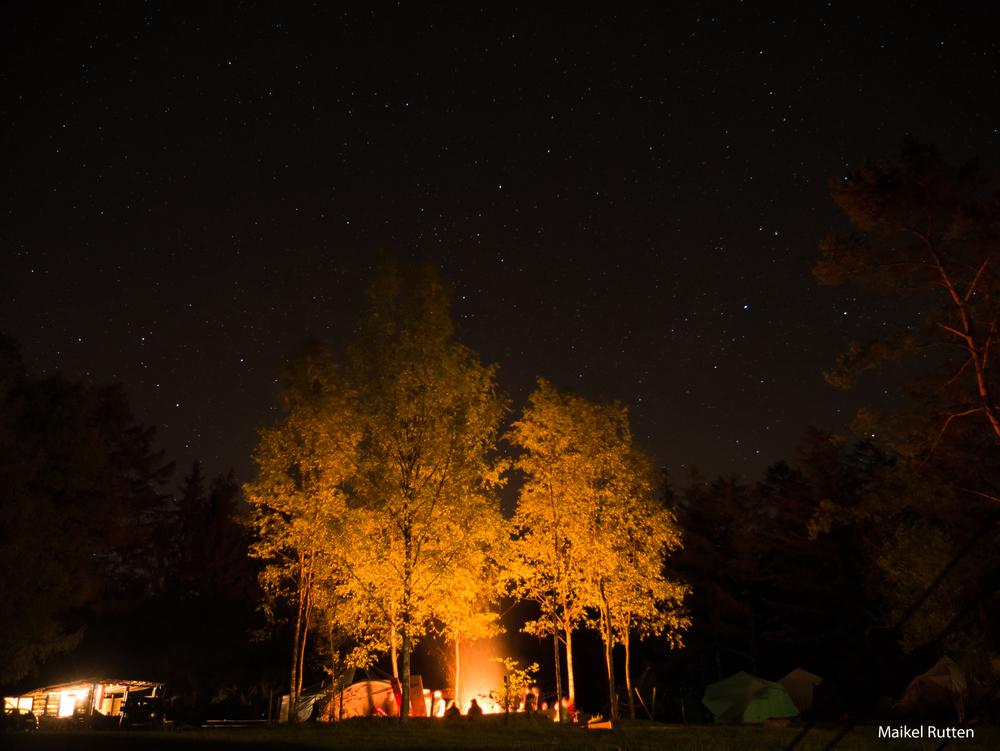 Kampvuur in de nacht