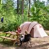 Picknicktafel bij de kampeerplaats