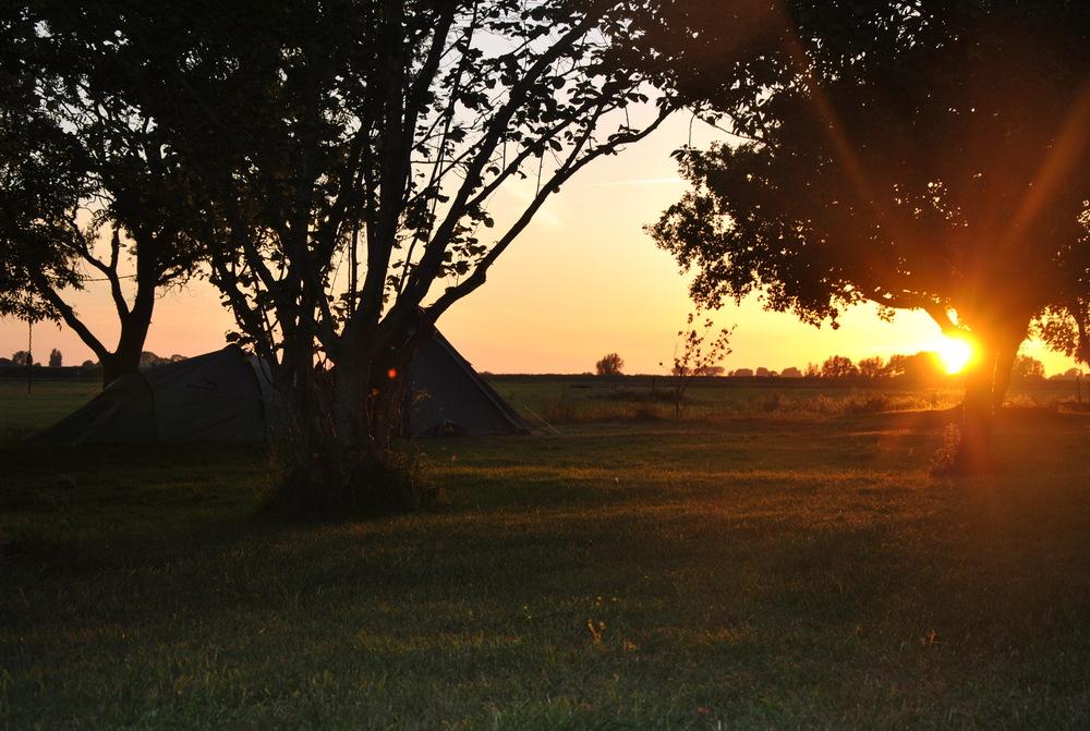 Ondergaande zon vanaf het terrein